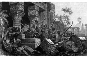 Illustration of the invasion of the Hyksos in Egypt, c.1650 B.C.