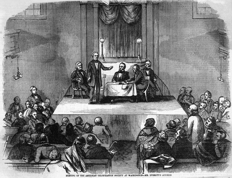 Illustration of American Colonization Society Meeting.