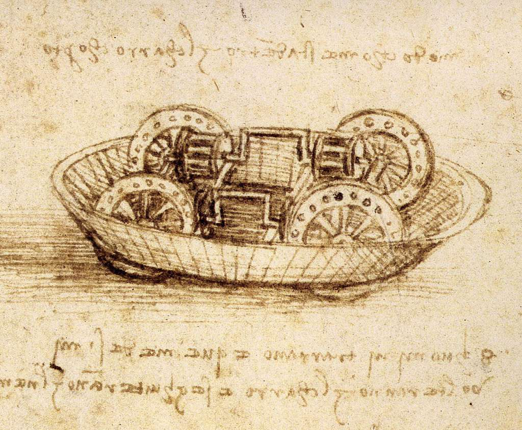 Drawing of Tank and Notes Written in Mirror Image by Leonardo da Vinci