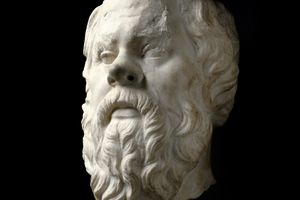 marble carving of Socrates