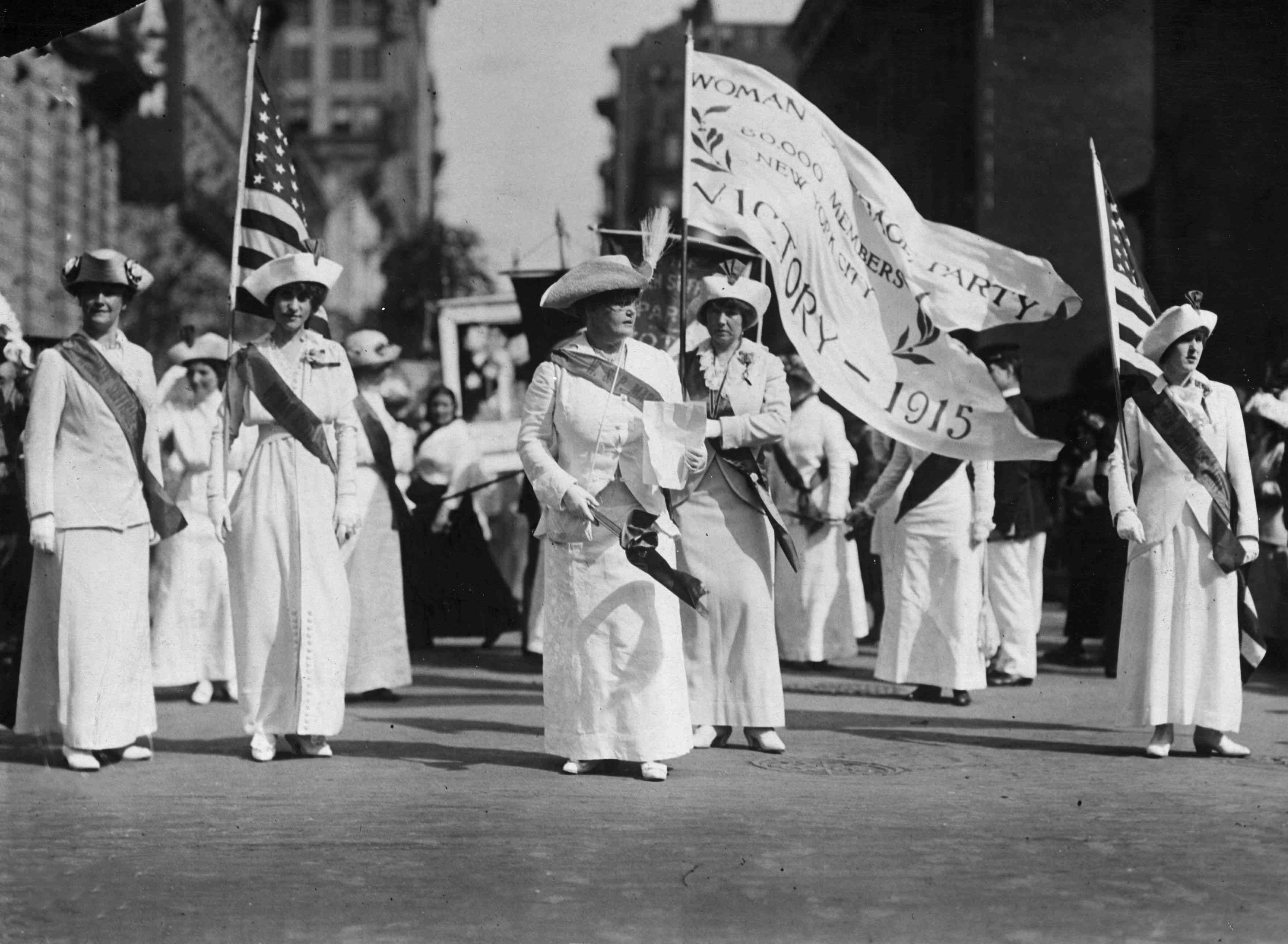 Woman Suffrage Party parade through New York, 1915.