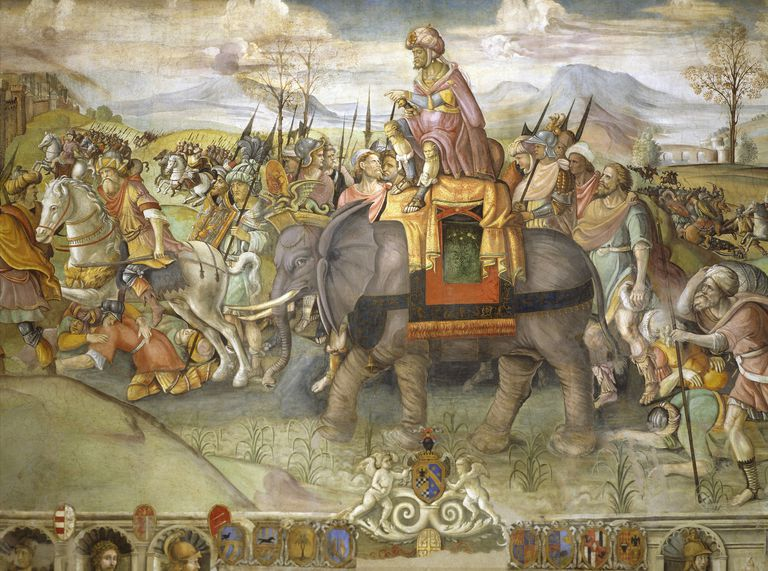 Hannibal crossing Alps, 218 BC, by Jacopo Ripanda (active circa 1500-1516), circa 1510, fresco from Conservatories Palace, Rome, detail, Second Punic War, Italy, 3rd century BC