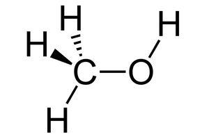 Wedge and dash rendering of methanol