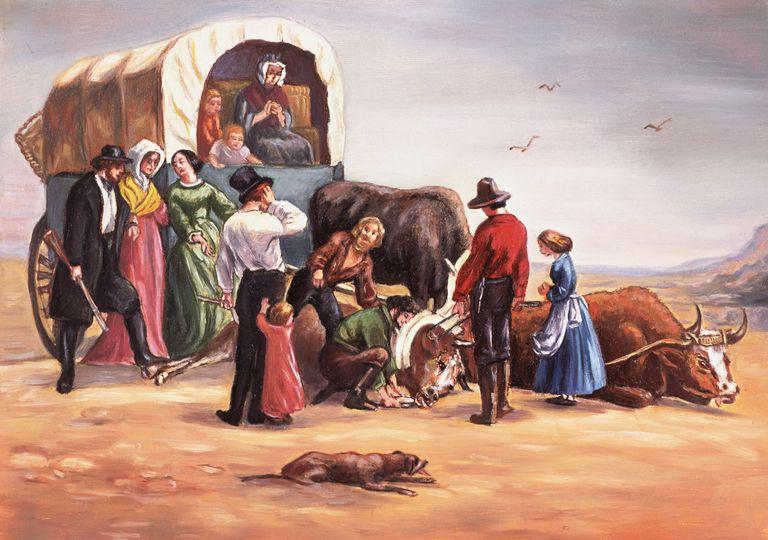illustration of the Donner Party in the Great Salt Lake Desert