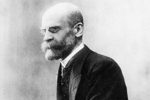 A black-and-white photo of Émile Durkheim