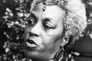 Florynce Kennedy close up black and white photograph.