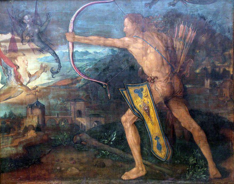"""Hercules Killing the Stymphalian Birds"" painting by Albrecht Dürer"