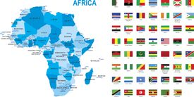 Map of Africa with flags.