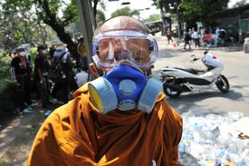 A gas mask is the best protection against tear gas.