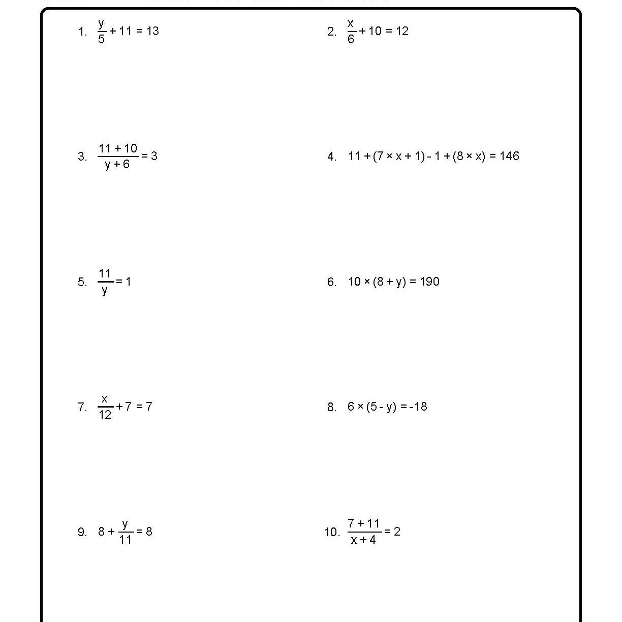 Solve for the Variable