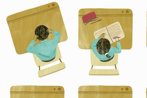 Illustrations of students writing at wooden desks