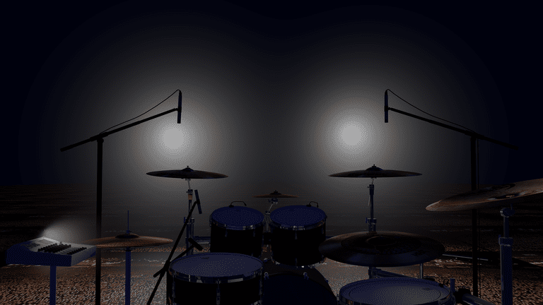 Set of drums on a stage as seen from the drummer's viewpoint.