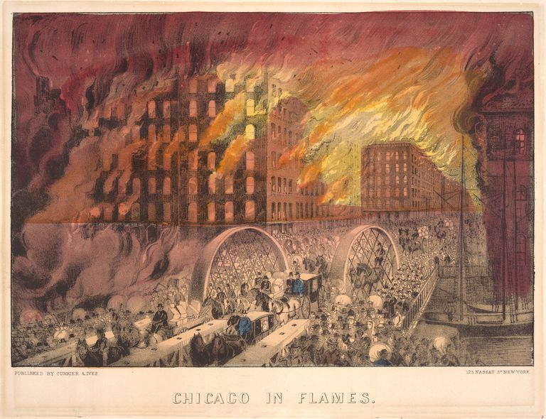 the great chicago fire of 1871 Great chicago fire's wiki: the great chicago fire was a conflagration that burned from sunday, october 8, to early tuesday when firefighters finally arrived at dekoven street, the fire had grown and spread to neighboring buildings and was progressing towards the central business district.