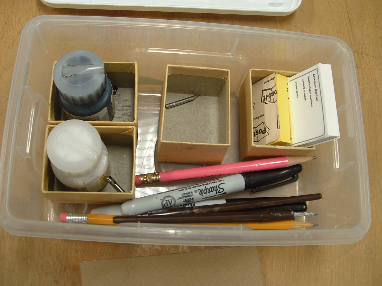 This kit includes everything you need to write catalog numbers on artifacts.