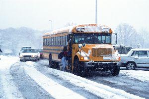 School bus in the snow