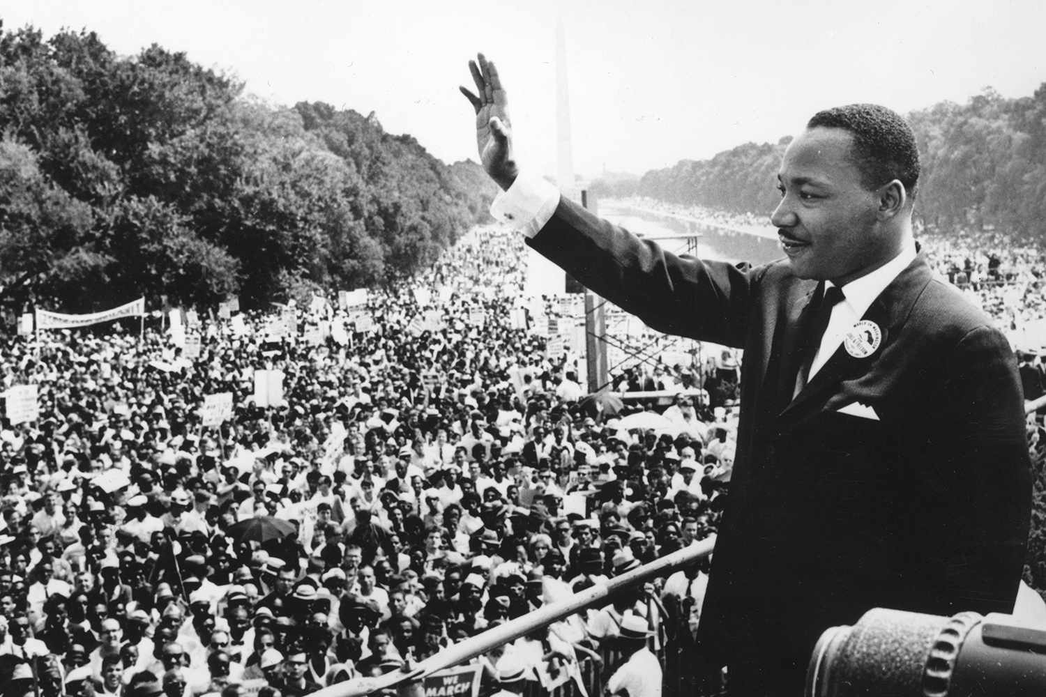 """The Rev. Dr. Martin Luther King Jr. during his """"I Have a Dream"""" speech in Washington in August 1963."""