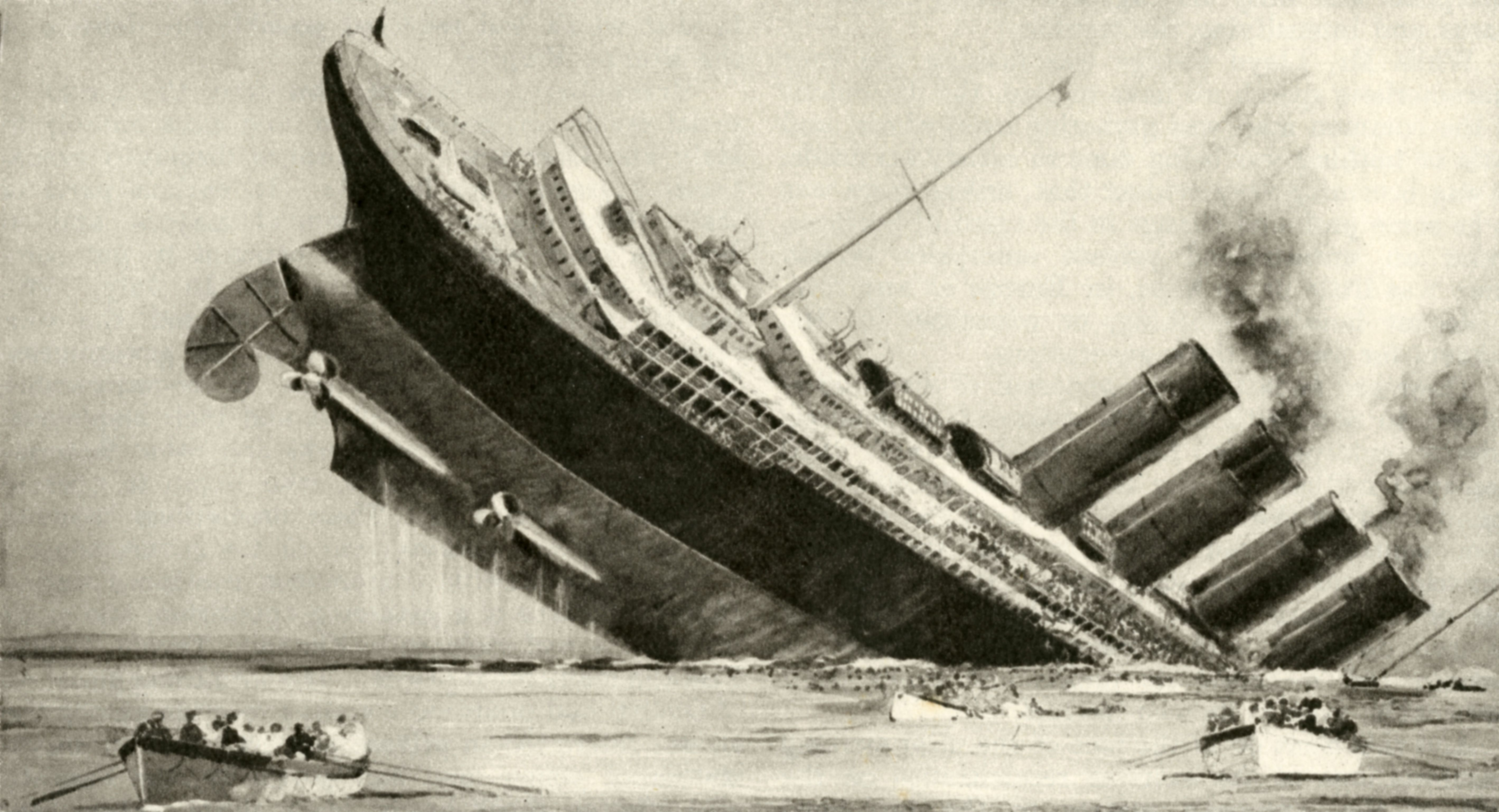 The sinking of the 'Lusitania', 7 May 1915.