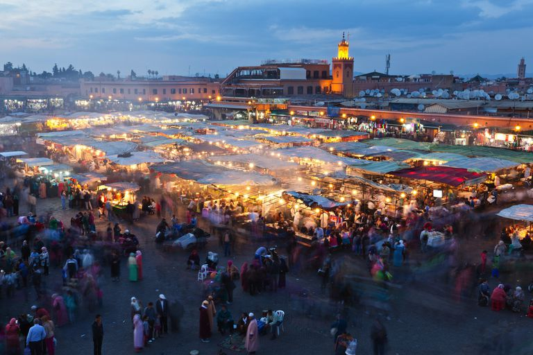 Djemaa El Fna Square at dusk, Marrakech, Morocco