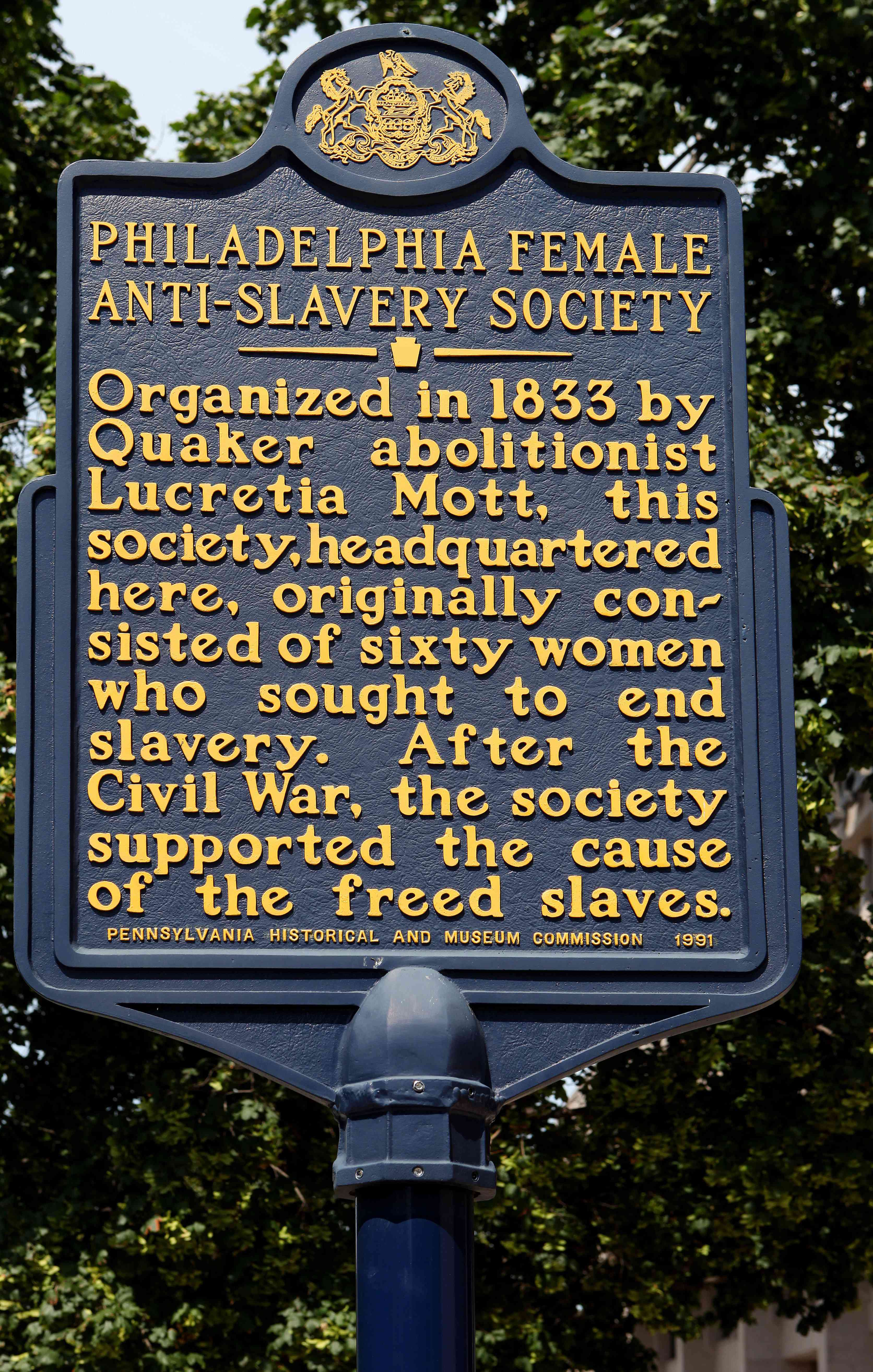 a sign that reads the philadelphia female anti-slavery society