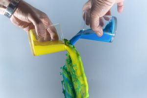 Cups of yellow and blue liquids being poured and combining to form green liquid