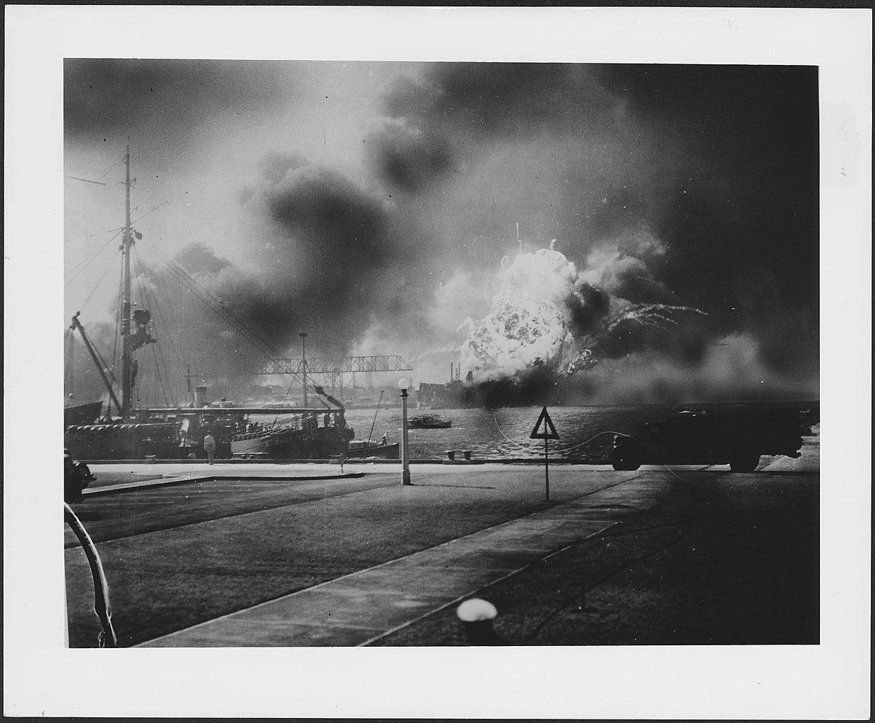 Photograph of the exact moment the U.S.S. Shaw exploded during the Japanese attack on Pearl Harbor.