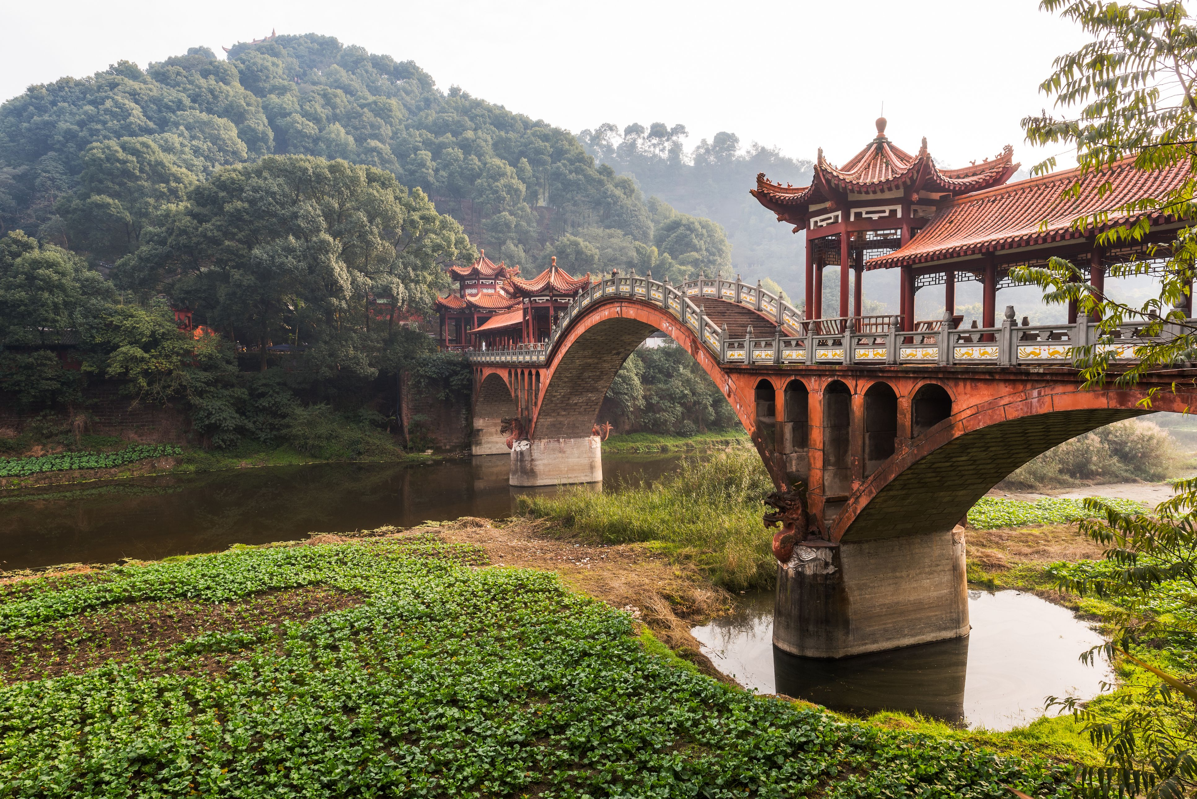 ZhuoYing, an ancient stone bridge outside of Chengdu, the capital of Sichuan