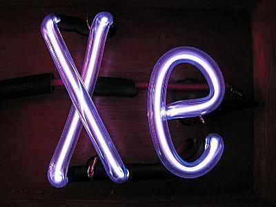 Xenon is a colorless noble gas, but it emits a blue glow when excited by an electrical discharge.