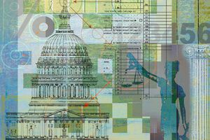 Scales of Justice, tax form and United States Capitol building