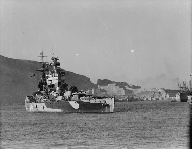 Battleship HMS Nelson in port at Mers-el-Kebir, 1942.