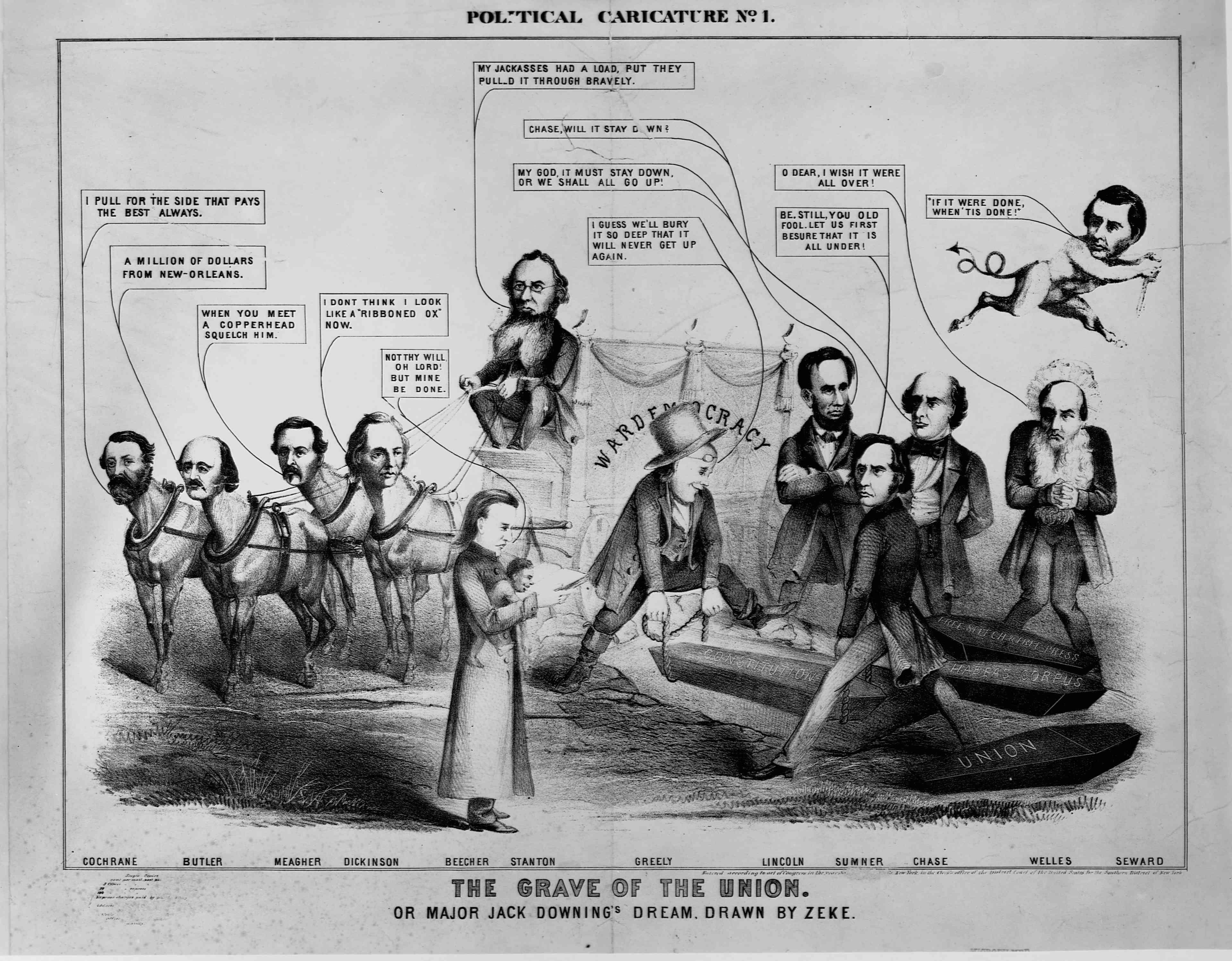 An 1864 political cartoon entitled,