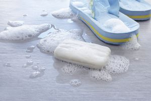 Soap and a pair of flip flops