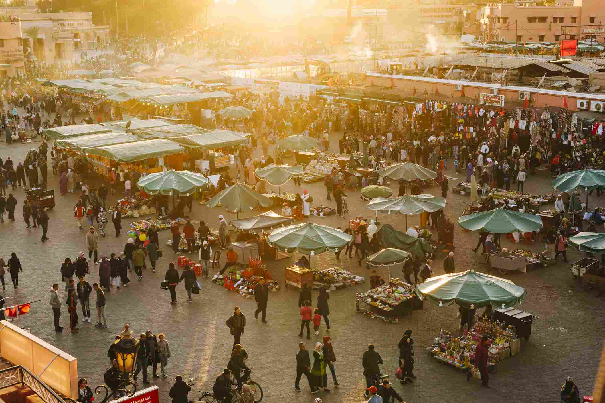 Marrakech marketplace with buyers and sellers