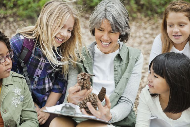 Happy Group of Students Examining Pine Cone With Teacher