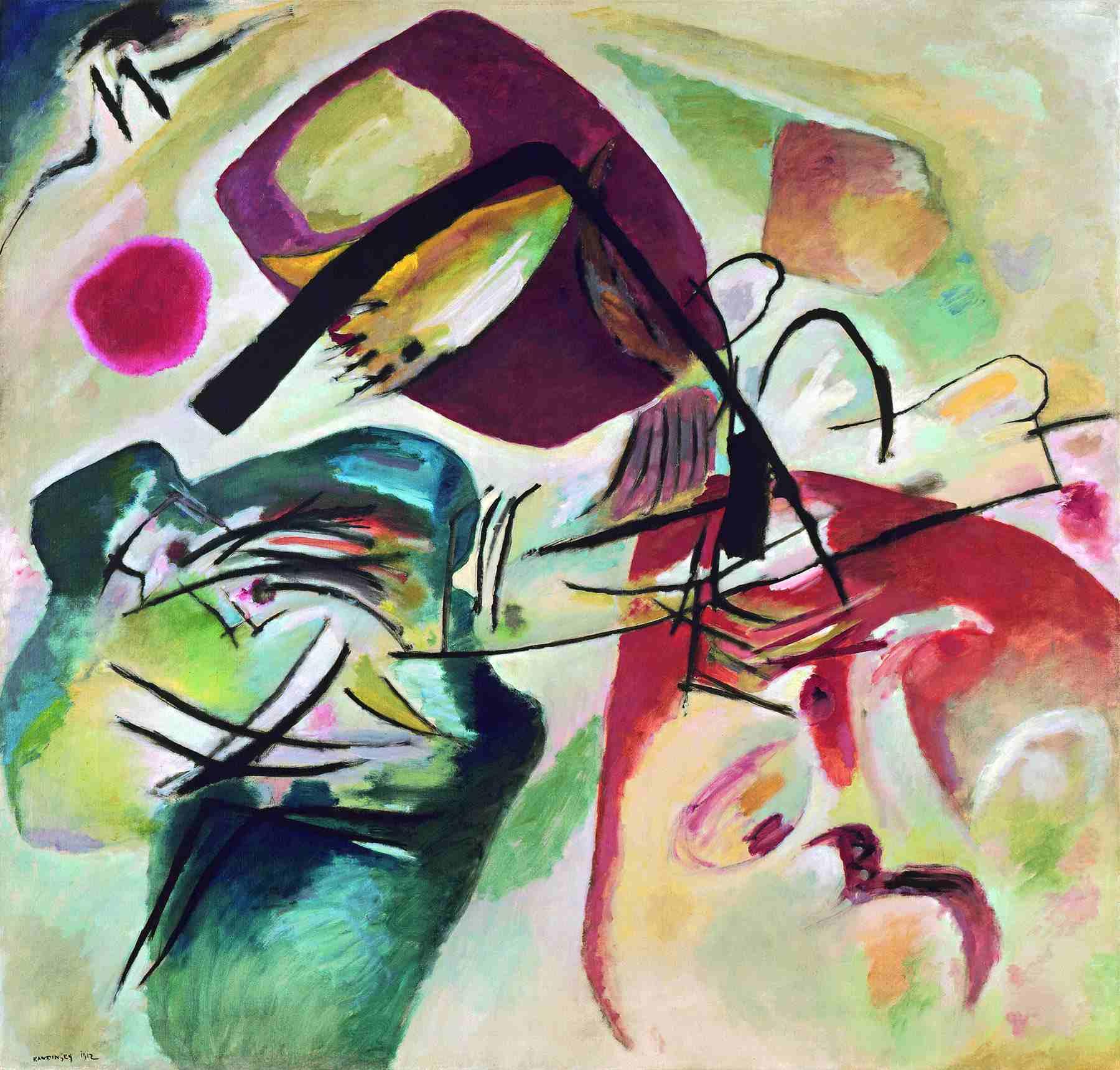 Wassily Kandinsky (Russian, 1866-1944) Wassily Kandinsky (Russian, 1866-1944). With the Black Arch (Mit dem Schwarzen Bogen), 1912. Oil on canvas. 74 3/8 x 77 15/16 in. (189 x 198 cm). Gift of Nina Kandinsky, 1976. Musée national d'art moderne, Centre Pompidou, Paris.