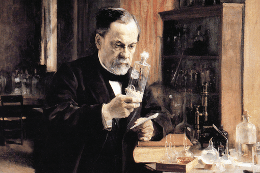 Illustration of Alfred Nobel in his laboratory in 1930.