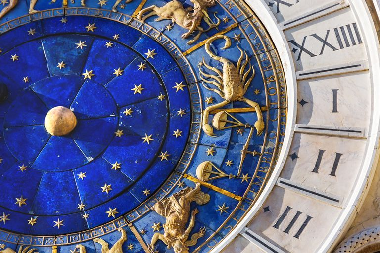 Closeup on Astronomical clock in square San Marco, Venice, Italy