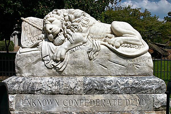 The lion is often found guarding a tomb in the cemetery