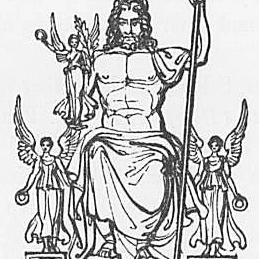 Ein Bild des Gottes Jupiter oder Zeus aus Keightleys Mythologie, 1852.
