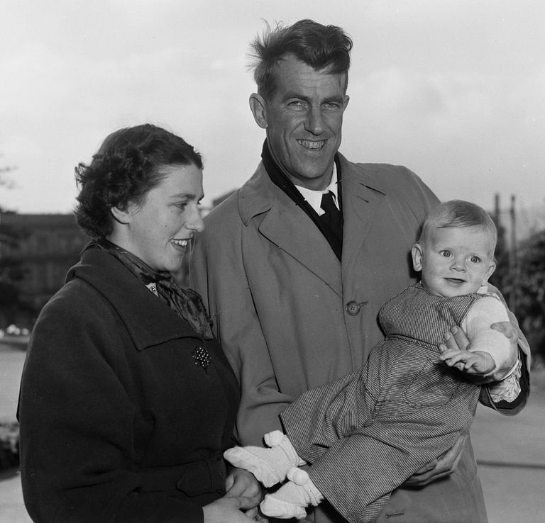 Sir Edmund and Lady Louise Hillary with their son Peter, 1955.