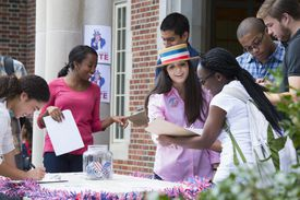 Student campaigning at voter registration