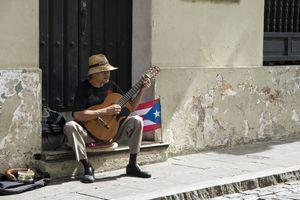 Guitar player, street, San Juan, Puerto Rico