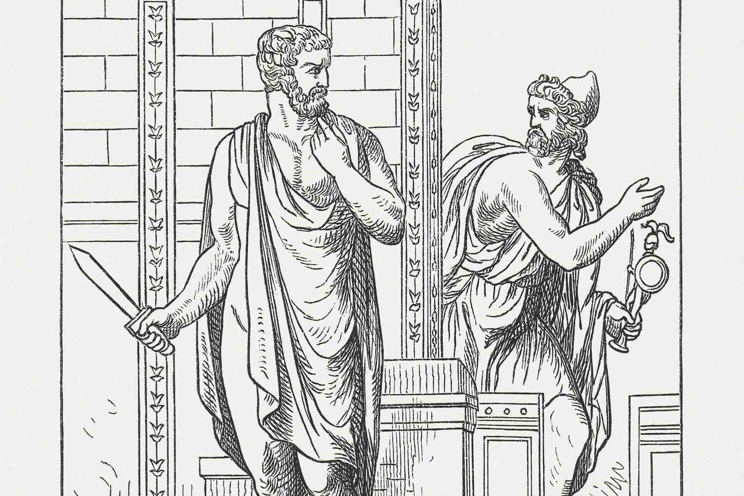 Odysseus und Diomedes stehlen das Palladium von Troja,