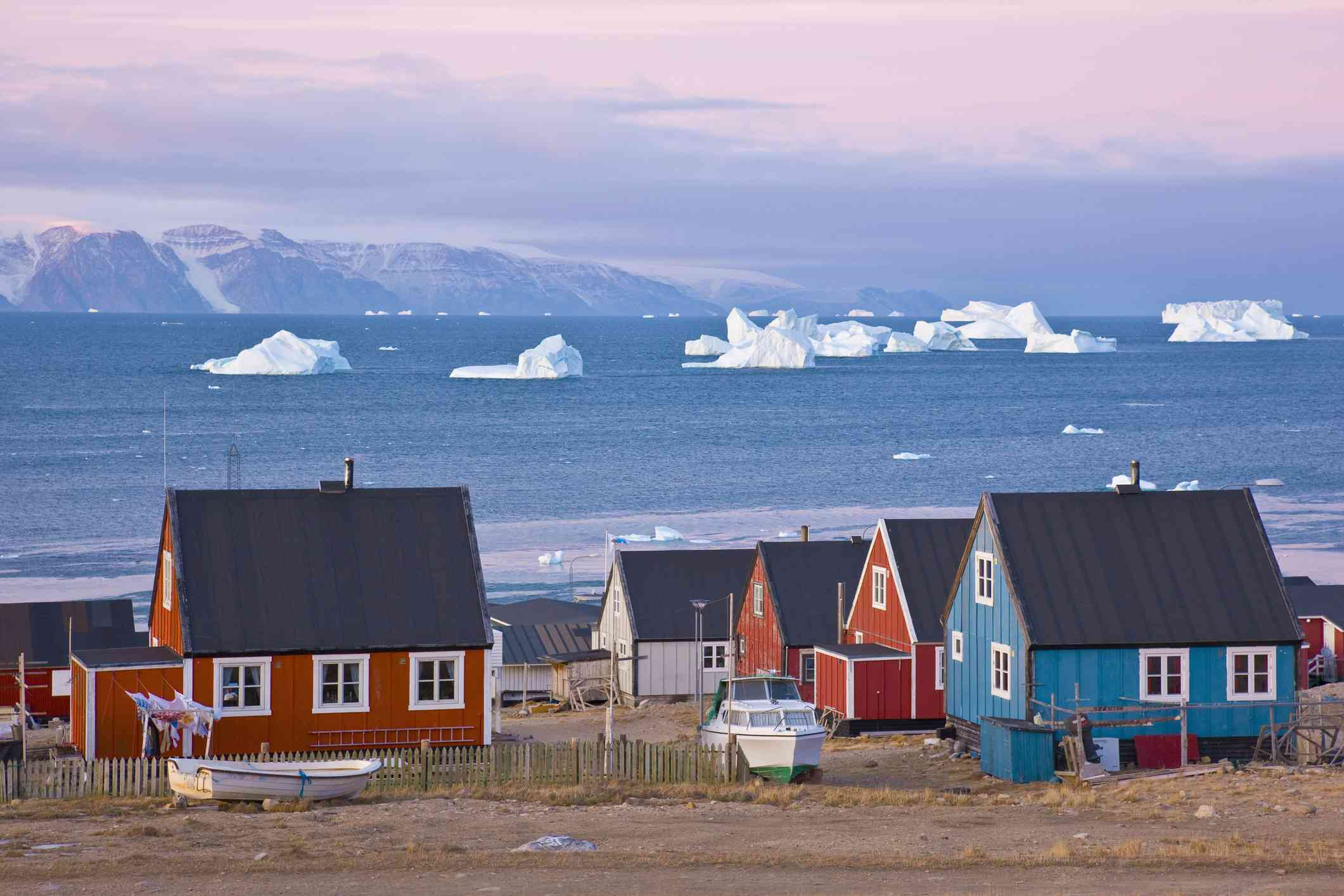 Sunrise in Qaanaaq in Northwest Greenland