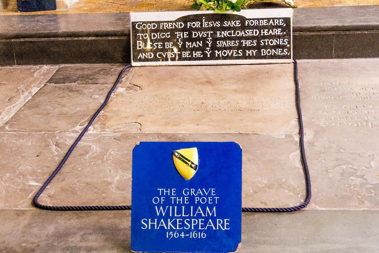 The grave of famous English playwright and poet William Shakespeare, located in the Church of the Holy Trinity