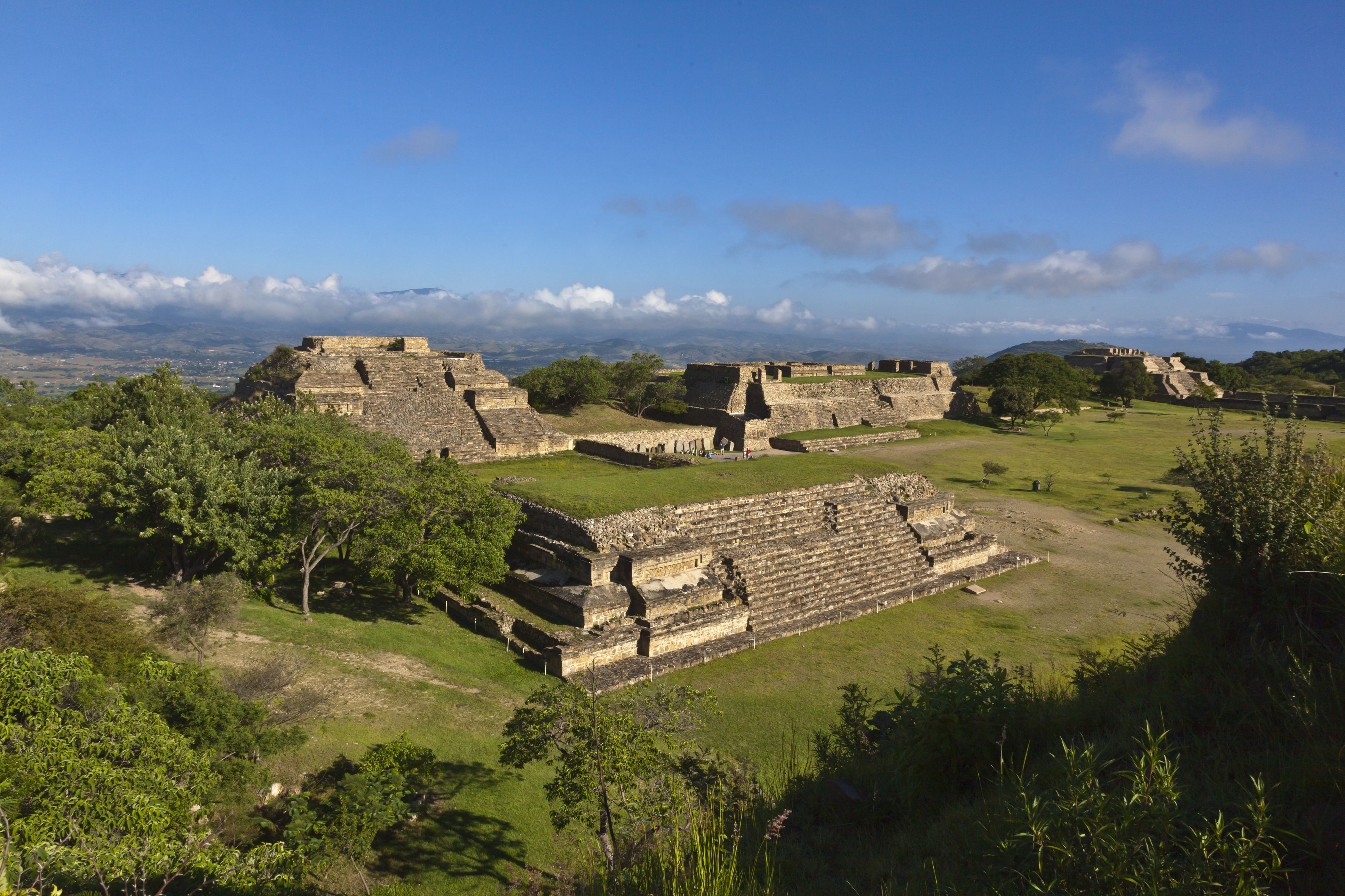 Zapotec ruins in Mexico on sunny day.