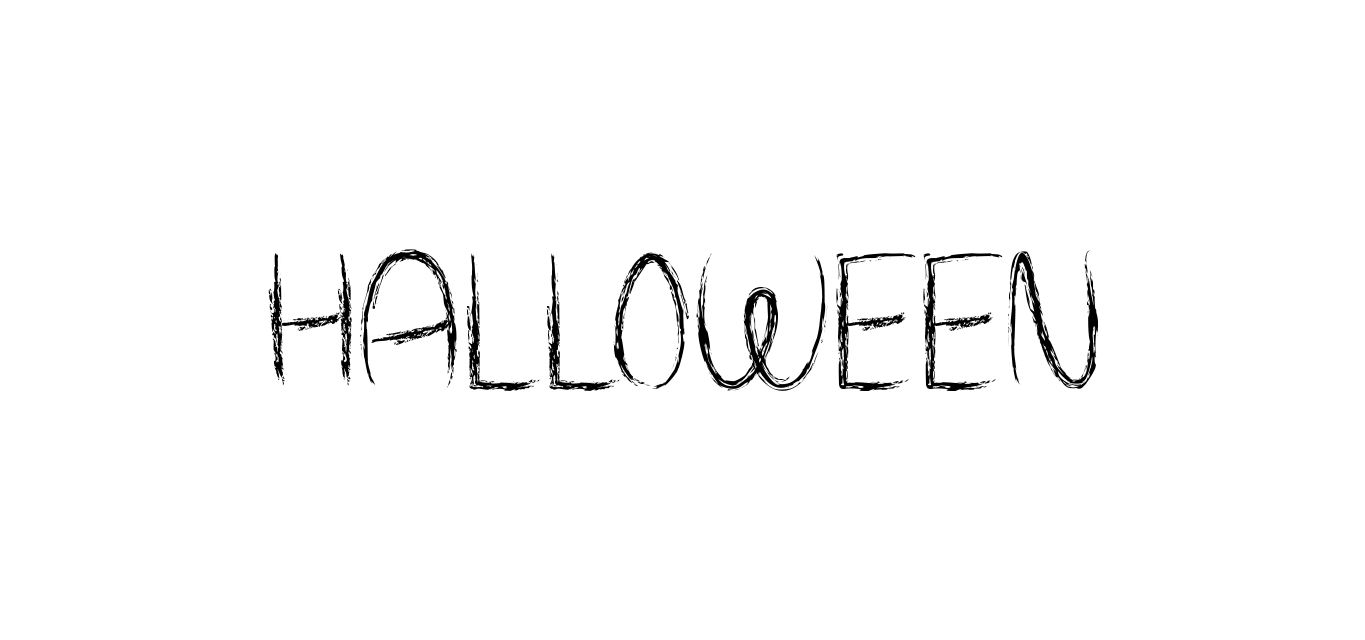 A brushstroke Halloween font that spells out