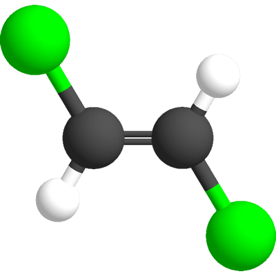 This is the ball and stick model of trans-dichloroethene.