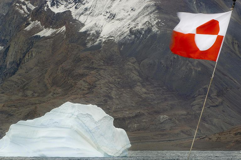 The Greenland flag flapping in the wind