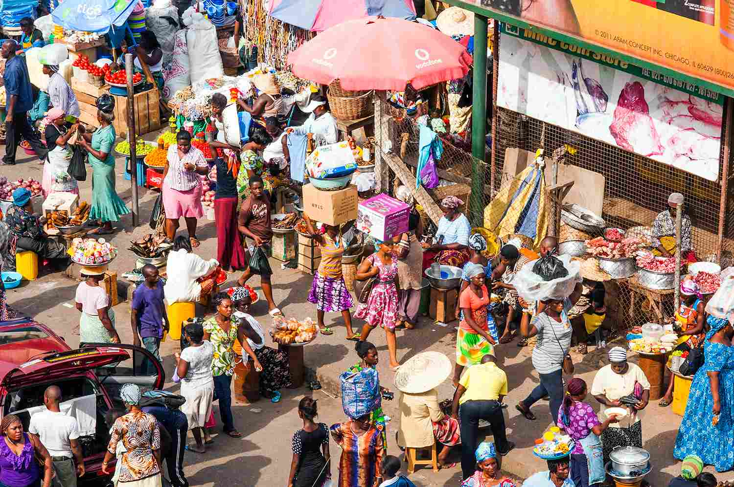 Aerial view of a busy street market in Ghana.