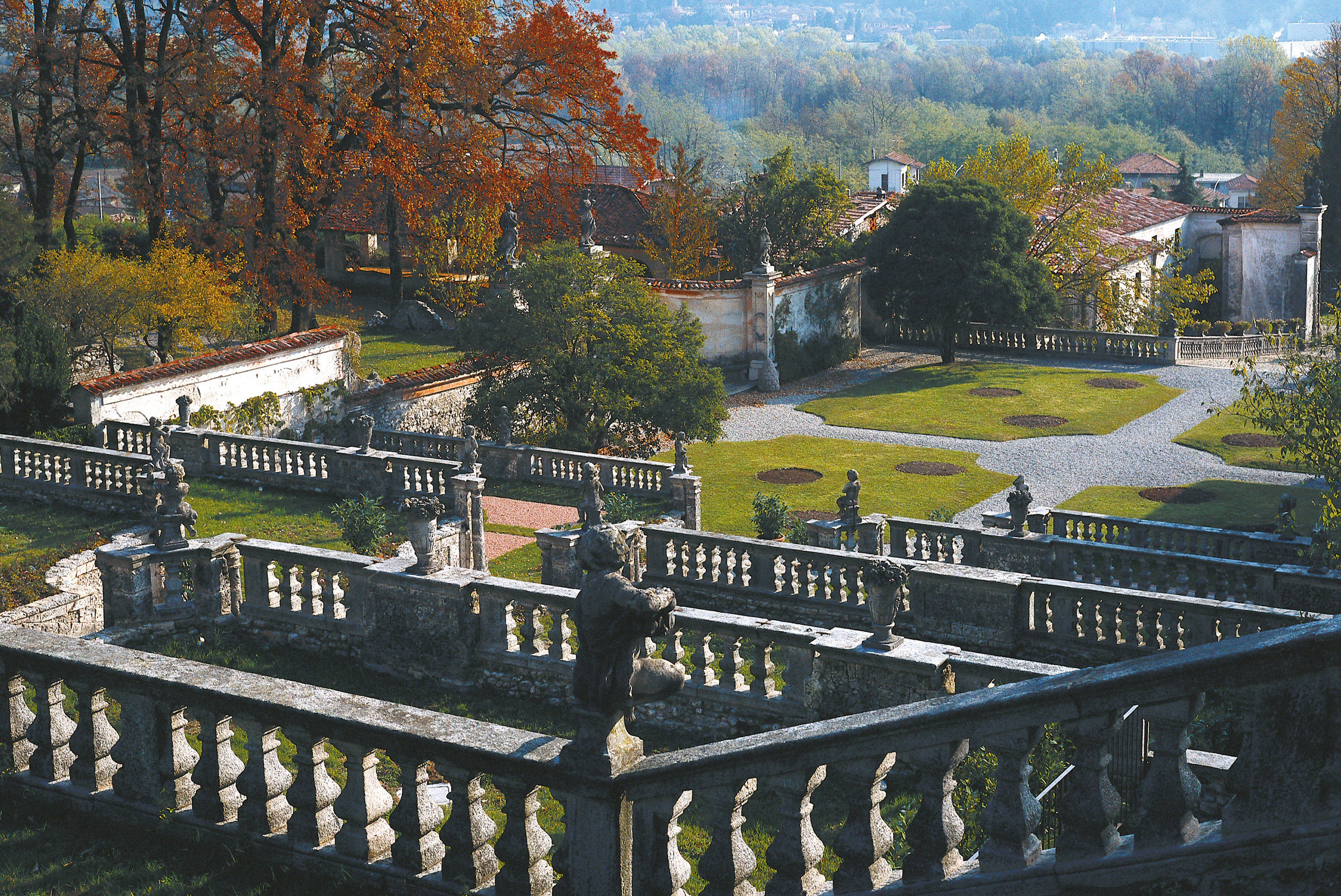 Terraced Italian Gardens added in the 18th century to a 16th century villa